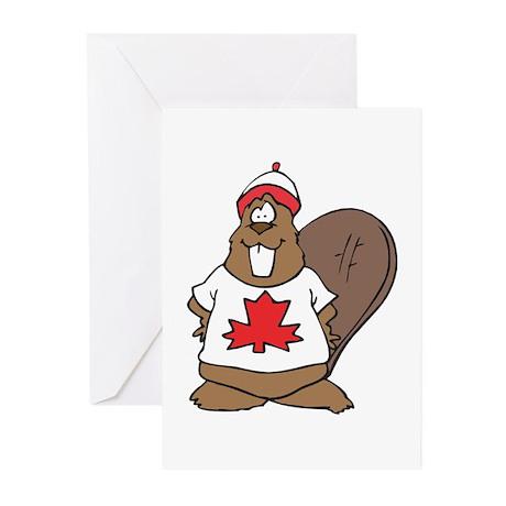 Goofy Canadian Beaver in Shir Greeting Cards (Pk o