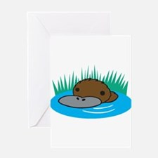Silly Platypus in the Water Greeting Card