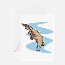 Swimming Duckbill Platypus Greeting Card