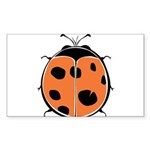 Cute Round Ladybug Sticker (Rectangle 50 pk)