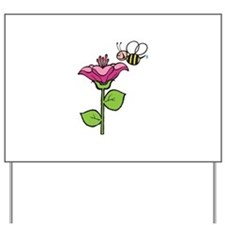 Cute Silly Bee With Flower Yard Sign