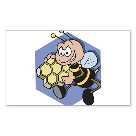 Greedy Bee With Honeycomb Sticker (Rectangle 10 pk