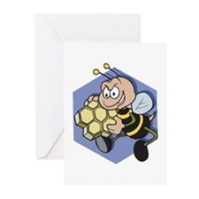 Greedy Bee With Honeycomb Greeting Cards (Pk of 20