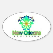 Sprouting Fleur de lis (green) Oval Decal
