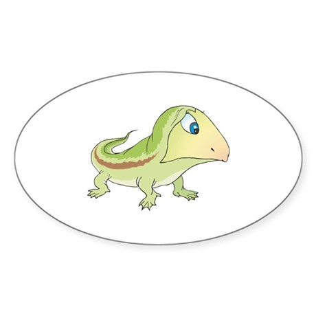 Light Green Baby Lizard Sticker (Oval 10 pk)
