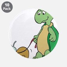 "Turtle With Pet Snail 3.5"" Button (10 pack)"