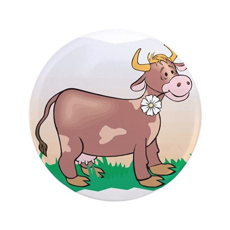 "Cute Brown Cow 3.5"" Button"