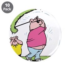 "Funny Golfing Pig 3.5"" Button (10 pack)"