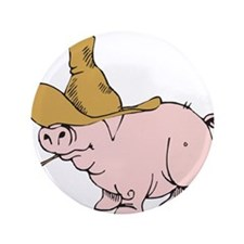 """Hillbilly Country Pig 3.5"""" Button"""