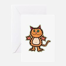 Psychedelic Crazy Kitty Greeting Card