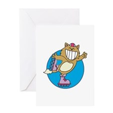 Kitty on Roller Skates Greeting Card