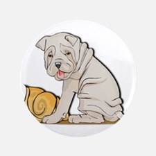 "Sharpei with Shell 3.5"" Button"