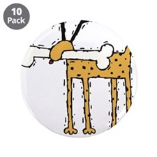 """Silly Dog with Bone 3.5"""" Button (10 pack)"""