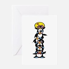 Penguin Totem Pole Greeting Card