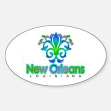 Sprouting Fleur de lis (blue) Oval Decal