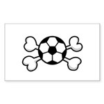 Soccer Ball Crossbones Design Sticker (Rectangle 1