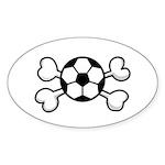 Soccer Ball Crossbones Design Sticker (Oval 10 pk)