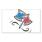 Cute Needle & Thread Design Sticker (Rectangle