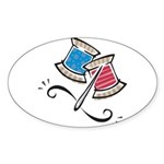 Cute Needle & Thread Design Sticker (Oval 10 p