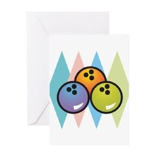 Retro Argyle Bowling Design Greeting Card