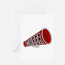 Red Cheer Megaphone Greeting Card