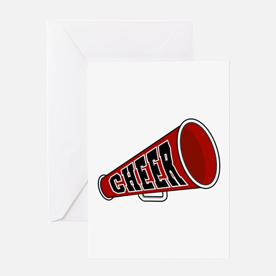 Red Cheer Megaphone Greeting Card