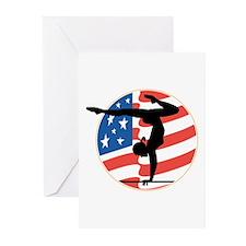 USA Stars and Stripes Gymnast Greeting Cards (Pk o