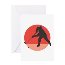 Hockey Player Silhouette Greeting Card