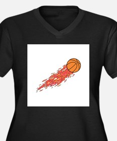 Basketball on Fire Women's Plus Size V-Neck Dark T