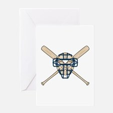 Catcher's Mask and Bats Greeting Card