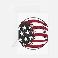 USA Stars and Stripes Basebal Greeting Card