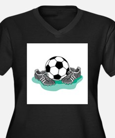 Soccer Ball and Cleats Women's Plus Size V-Neck Da