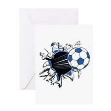 Soccerball Ripping Through Greeting Card