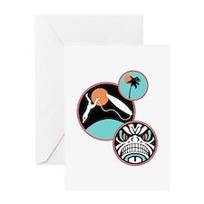 Hawaiian Tribal Surf Design Greeting Card