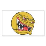Angry Tennis Ball Sticker (Rectangle 50 pk)