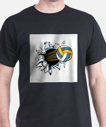 Volleyball Ripping Through T-Shirt