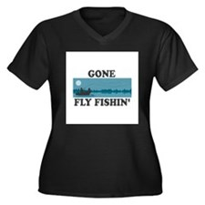 Gone Fly Fishin' Women's Plus Size V-Neck Dark T-S