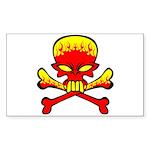 Flaming Skull & Crossbones Sticker (Rectangle