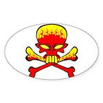 Flaming Skull & Crossbones Sticker (Oval 10 pk