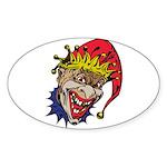 Laughing Evil Grin Clown Sticker (Oval 10 pk)