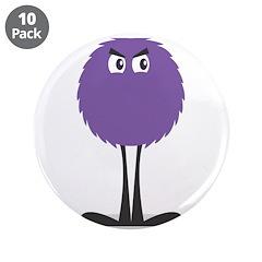 "Cute Fuzzy Purple Monster 3.5"" Button (10 pac"