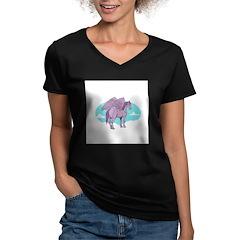 Purple Pegasus Women's V-Neck Dark T-Shirt