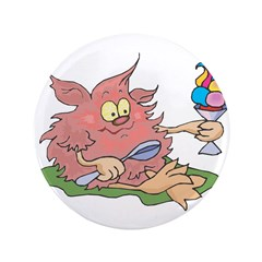 "Cute Pink Troll with Ice Crea 3.5"" Button"