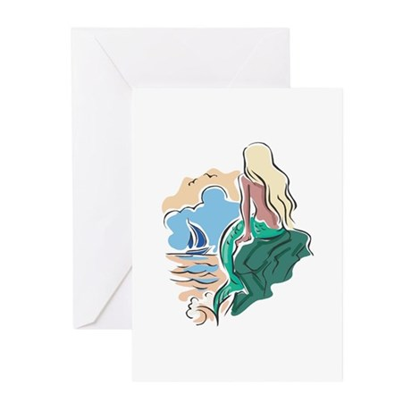 Pretty Mermaid Scene Greeting Cards (Pk of 20)