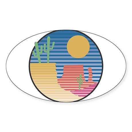 Cactus Desert Scene Sticker (Oval 10 pk)
