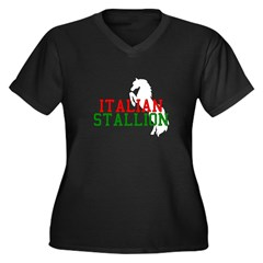 Italian Stallion Women's Plus Size V-Neck Dark T-S
