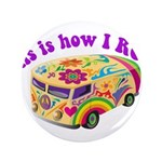 "How I Roll Hippie Van 3.5"" Button (100 pack)"