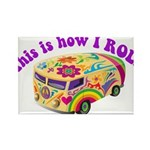 How I Roll Hippie Van Rectangle Magnet (100 pack)