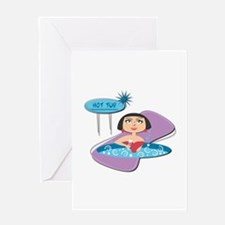 Retro Hot Tub Girl Greeting Card