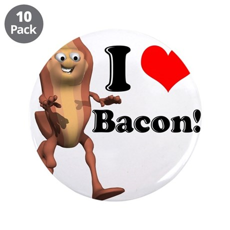 """I Heart (Love) Bacon 3.5"""" Button (10 pack)"""